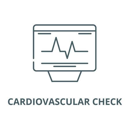 Cardiovascular check vector line icon, outline concept, linear sign