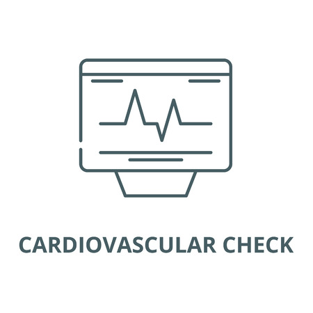Cardiovascular check vector line icon, outline concept, linear sign Illustration