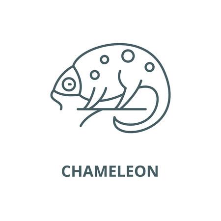 Chameleon vector line icon, outline concept, linear sign