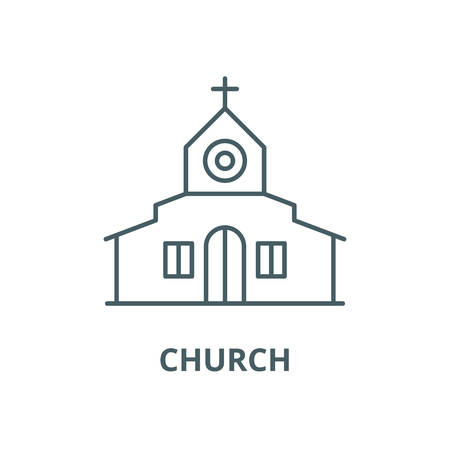 Church vector line icon, outline concept, linear sign