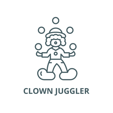 Clown juggler vector line icon, outline concept, linear sign Stock Illustratie