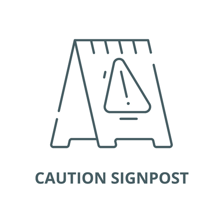 Caution signpost vector line icon, outline concept, linear sign Illustration