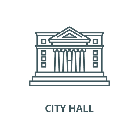 L'icône de la ligne du vecteur de l'hôtel de ville, concept de contour, signe linéaire