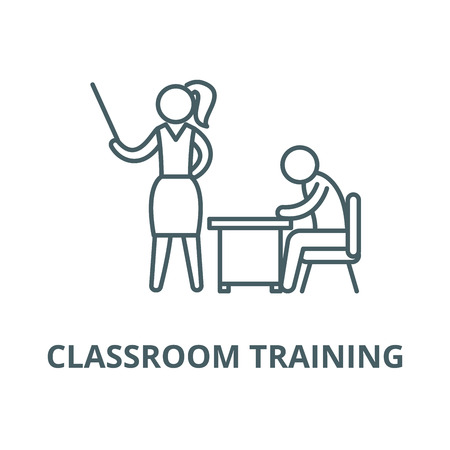 Classroom training vector line icon, outline concept, linear sign