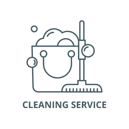Cleaning service vector line icon, outline concept, linear sign Illustration