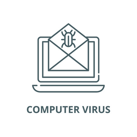 Computer virus vector line icon, outline concept, linear sign Illustration