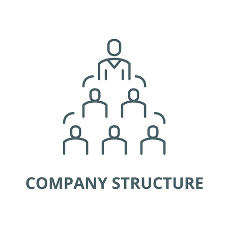 Company structure vector line icon, outline concept, linear sign Illustration