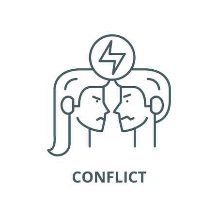 Conflict vector line icon, outline concept, linear sign