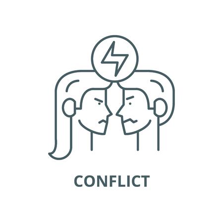 Icono de línea de vector de conflicto, concepto de contorno, signo lineal