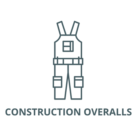 Construction overalls vector line icon, outline concept, linear sign Vectores