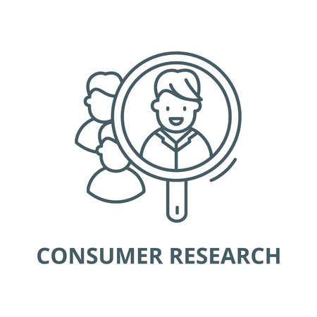 Consumer research vector line icon, outline concept, linear sign