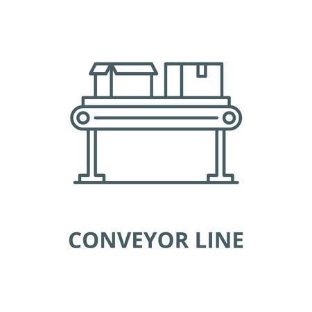 Conveyor line vector line icon, outline concept, linear sign Illustration