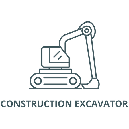 Construction excavator vector line icon, outline concept, linear sign