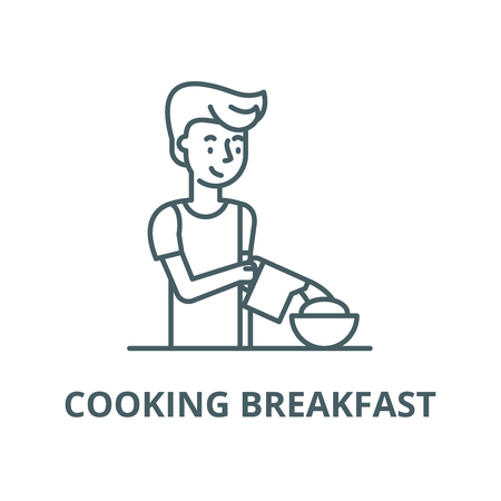 Cooking breakfast vector line icon, outline concept, linear sign