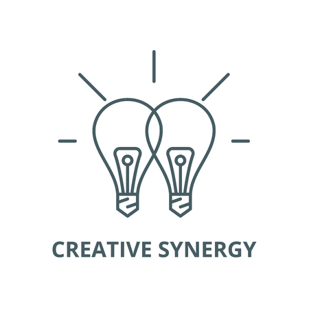 Creative synergy vector line icon, outline concept, linear sign Stock Illustratie