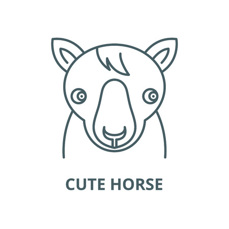 Cute horse vector line icon, outline concept, linear sign