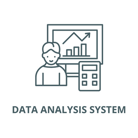 Data analysis system vector line icon, outline concept, linear sign Фото со стока - 122418885
