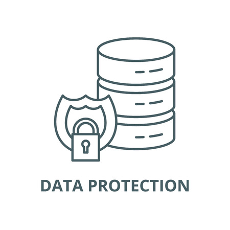 Data protection vector line icon, outline concept, linear sign