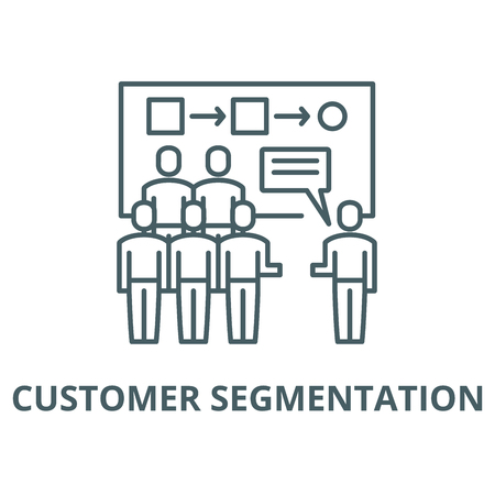 Customer segmentation vector line icon, outline concept, linear sign