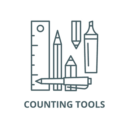 Counting tools vector line icon, outline concept, linear sign
