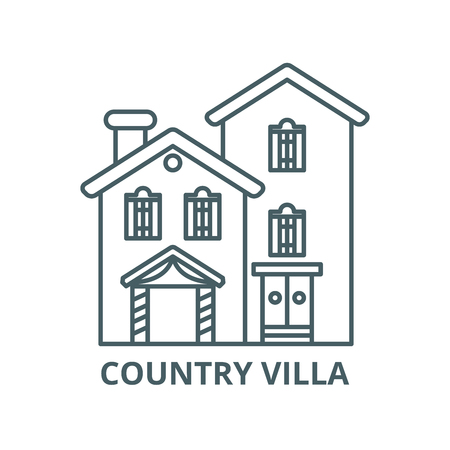 Country villa vector line icon, outline concept, linear sign
