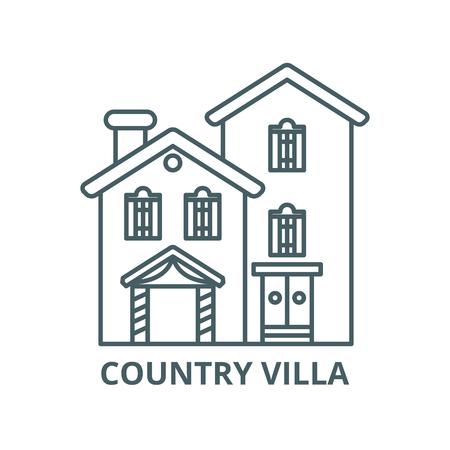 L'icône de la ligne du vecteur villa pays, concept de contour, signe linéaire Vecteurs