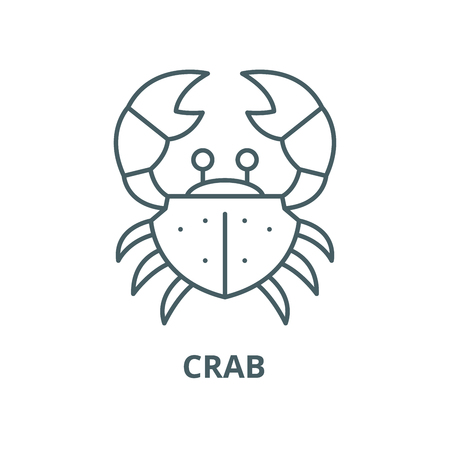 Crab vector line icon, outline concept, linear sign