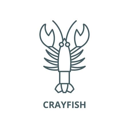 Crayfish vector line icon, outline concept, linear sign