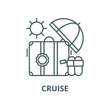 Cruise vector line icon, outline concept, linear sign
