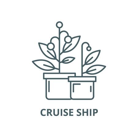 Cruise ship vector line icon, outline concept, linear sign