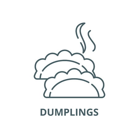 Dumplings vector line icon, outline concept, linear sign
