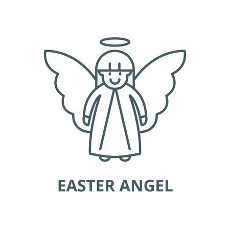Easter angel vector line icon, outline concept, linear sign