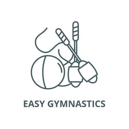 Easy gymnastics vector line icon, outline concept, linear sign