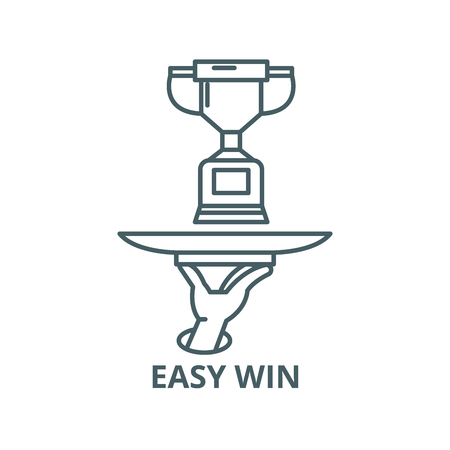 Easy win vector line icon, outline concept, linear sign Illustration