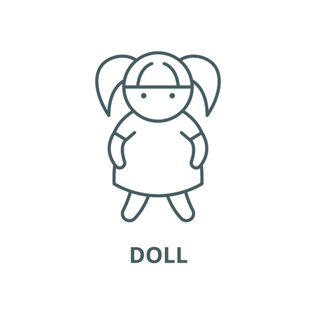 Doll vector line icon, outline concept, linear sign