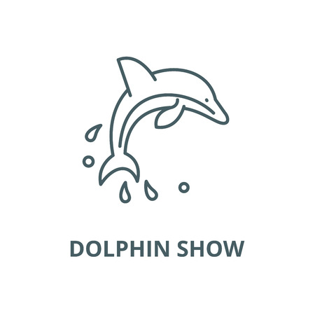 Dolphin show vector line icon, outline concept, linear sign Illustration