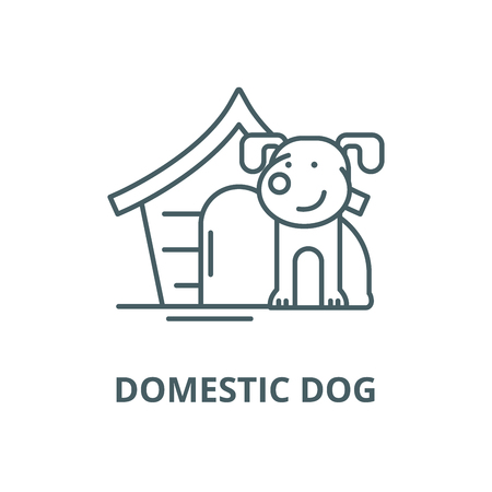 Domestic dog vector line icon, outline concept, linear sign