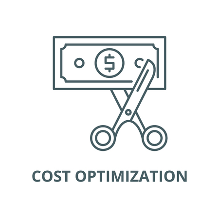 Cost optimization vector line icon, outline concept, linear sign Ilustração