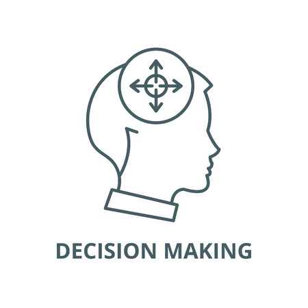 Decision making vector line icon, outline concept, linear sign Ilustrace