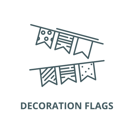 Decoration flags vector line icon, outline concept, linear sign