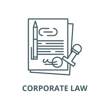 Corporate law vector line icon, outline concept, linear sign Stock Illustratie