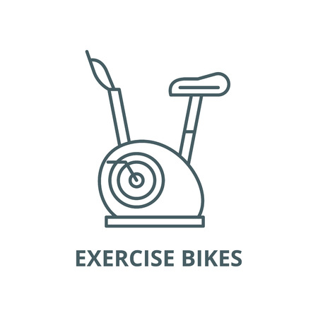 Exercise bikes vector line icon, outline concept, linear sign