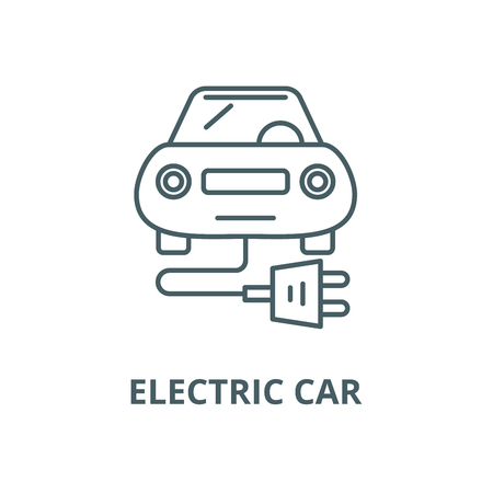 Electric car vector line icon, outline concept, linear sign