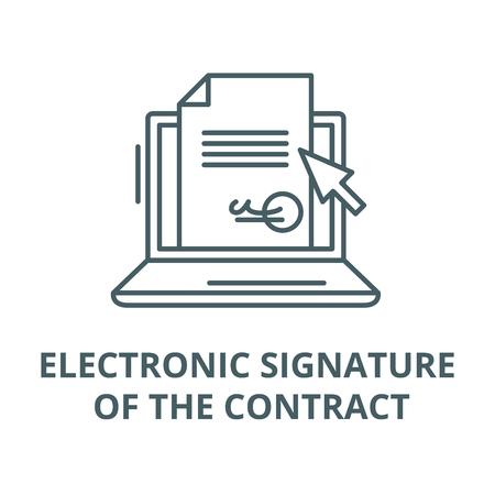 Firma elettronica dell'icona della linea del vettore del contratto, concetto di contorno, segno lineare Vettoriali