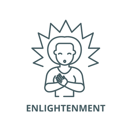 b9c227d7 Enlightenment vector line icon, outline concept, linear sign Illustration