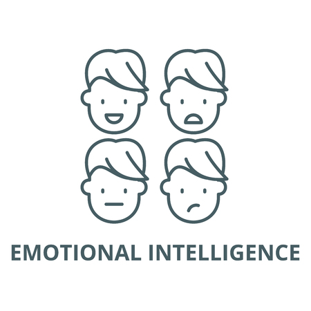 Emotional intelligence vector line icon, outline concept, linear sign