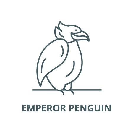 Emperor penguin vector line icon, outline concept, linear sign