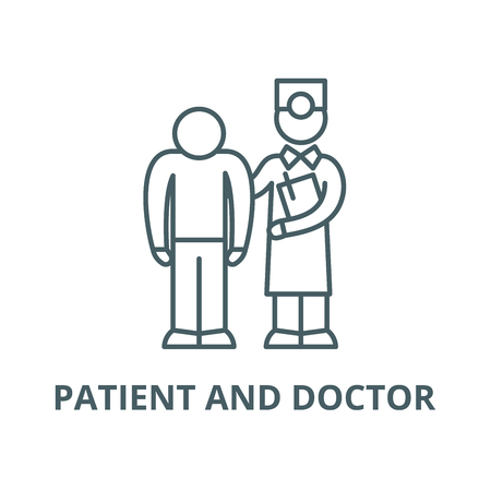 Examination of the patient by the doctor vector line icon, outline concept, linear sign