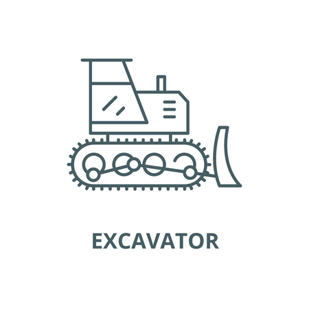 Excavator vector line icon, outline concept, linear sign