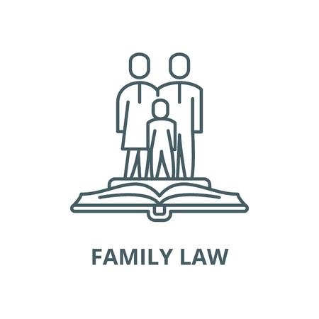 Prawo rodzinne wektor ikona linii, koncepcja konspektu, liniowy znak